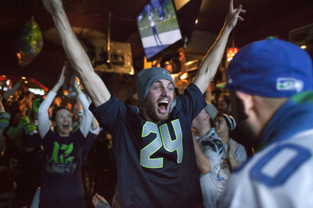 Seahawks fan firar. (Photo by David Ryder/Getty Images)
