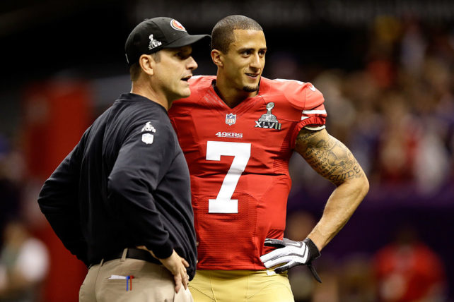 NEW ORLEANS, LA - FEBRUARY 03: Head coach Jim Harbaugh speaks to Colin Kaepernick #7 of the San Francisco 49ers during warm ups prior to Super Bowl XLVII against the Baltimore Ravens at the Mercedes-Benz Superdome on February 3, 2013 in New Orleans, Louisiana. (Photo by Ezra Shaw/Getty Images)