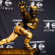 NEW YORK, NY - DECEMBER 13:  The Heisman Trophy sits on a stand before a press conference at the New York Marriott Marquis on December 13, 2014 in New York City.