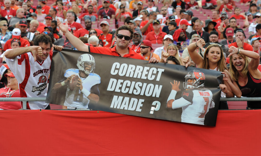 TAMPA, FL - SEPTEMBER 13: Tampa Bay Buccaneers fans with a message for quarterback Jameis Winston #3 of the Tampa Bay Buccaneers against the Tennessee Titans at Raymond James Stadium on September 13, 2015 in Tampa, Florida.