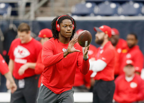 HOUSTON, TX - JANUARY 09:  Wide receiver Chris Conley #17 of the Kansas City Chiefs warms up before playing against the Houston Texans during their AFC Wild Card Playoff game at NRG Stadium on January 9, 2016 in Houston, Texas.  (Photo by Bob Levey/Getty Images)
