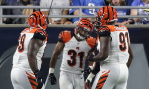 DETROIT, MI - AUGUST 18: Derron Smith #31 of the Cincinnati Bengals celebrates after scoring on a second quarter interception during the preseason game against the Detroit Lions at Ford Field on August 18, 2016 in Detroit, Michigan.