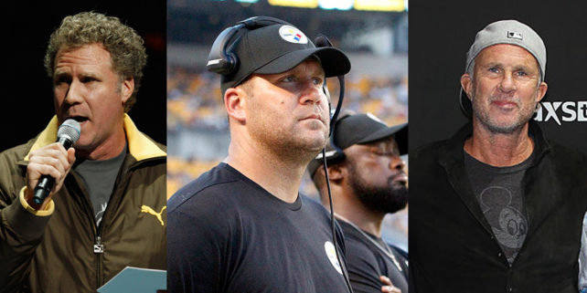 Will Ferrell (Chris Graythen/Getty Images). Ben Roethlisberger (Justin K. Aller/Getty Images). Chad Smith (Joe Scarnici/Getty Images)