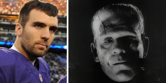 Joe Flacco (Patrick Smith/Getty Images). Frankenstein.