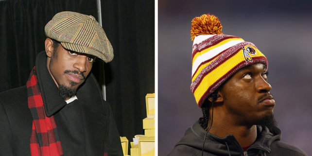 Andre3000 (Mychal Watts/Getty Images). Robert Griffin III (Ronald Martinez/Getty Images)