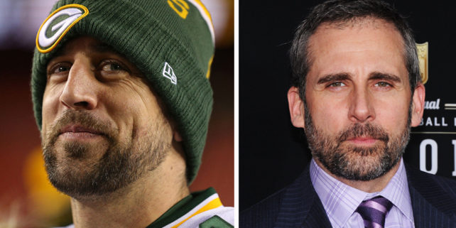 Aaron Rodgers (Patrick Smith/Getty Images). Steve Carell (Jamie McCarthy/Getty Images)