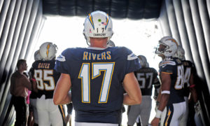 SAN DIEGO - OCTOBER 5:   Philip Rivers #17 of the San Diego Chargers against the New York Jets during their NFL game at Qualcomm Stadium on October 5, 2014 in San Diego, California. (Photo by Donald Miralle/Getty Images)