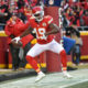KANSAS CITY, MO - JANUARY 3: Jeremy Maclin #19 of the Kansas City Chiefs celebrates his touchdown catch at Arrowhead Stadium during the first quarter of the game agains the Oakland Raiders on January 3, 2016 in Kansas City, Missouri. (Photo by Peter Aiken/Getty Images)