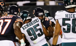 CHICAGO, IL - SEPTEMBER 19:  Jeremy Langford #33 of the Chicago Bears pushes against Mychal Kendricks #95 of the Philadelphia Eagles into the endzone to score a touchdown in the second quarter at Soldier Field on September 19, 2016 in Chicago, Illinois.  (Photo by Jonathan Daniel/Getty Images)