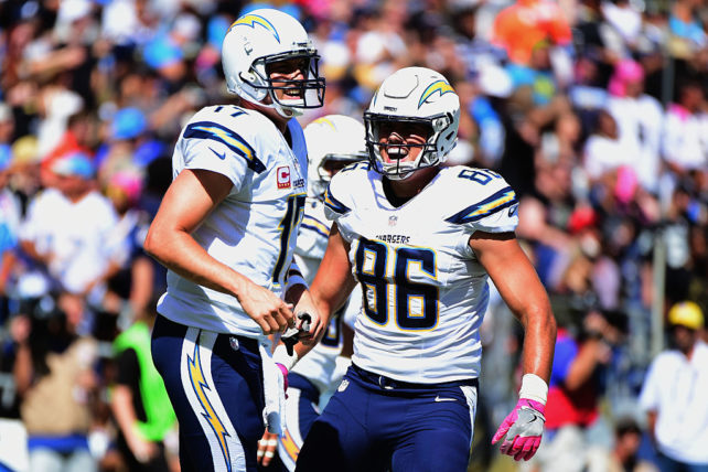 SAN DIEGO, CA - OCTOBER 02:  Philip Rivers #17 and  Hunter Henry #86 of the San Diego Chargers celebrate in the end zone after a touchdown in the first half against the New Orleans Saints  at Qualcomm Stadium on October 2, 2016 in San Diego, California.  (Photo by Harry How/Getty Images)
