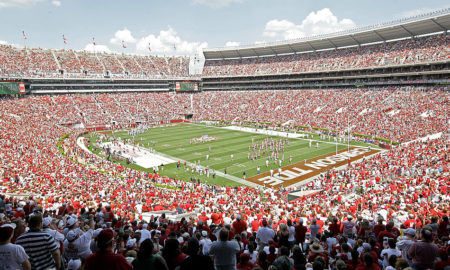 TUSCALOOSA, AL - APRIL 17: Some 92,000 pack the Bryant-Denny Stadium during the Alabama Crimson Tide spring game at Bryant Denny Stadium on April 17, 2010 in Tuscaloosa, Alabama. (Photo by Dave Martin/Getty Images)