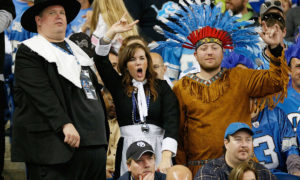 DETROIT, MI - NOVEMBER 22:  Fans cheer on Thanksgiving Day during the game between the Detroit Lions and the Houston Texans at Ford Field on November 22, 2012 in Detroit, Michigan. (Photo by Gregory Shamus/Getty Images)