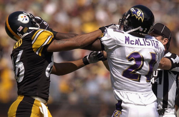 PITTSBURGH - SEPTEMBER 7: Wide receiver Hines Ward #36 of the Pittsburgh Steelers fights with cornerback Chris McAlister of the Baltimore Ravens on September 7, 2003 at Heinz Field in Pittsburgh, Pennsylvania. The Steelers defeated the Ravens 34-15. (Photo by David Maxwell/Getty Images)