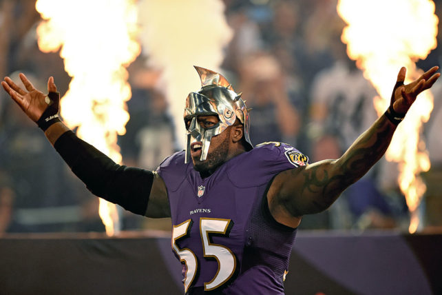 BALTIMORE, MD - SEPTEMBER 11: Outside linebacker Terrell Suggs #55 of the Baltimore Ravens wears a mask as he is introduced before playing the Pittsburgh Steelers at M&T Bank Stadium on September 11, 2014 in Baltimore, Maryland. (Photo by Patrick Smith/Getty Images)