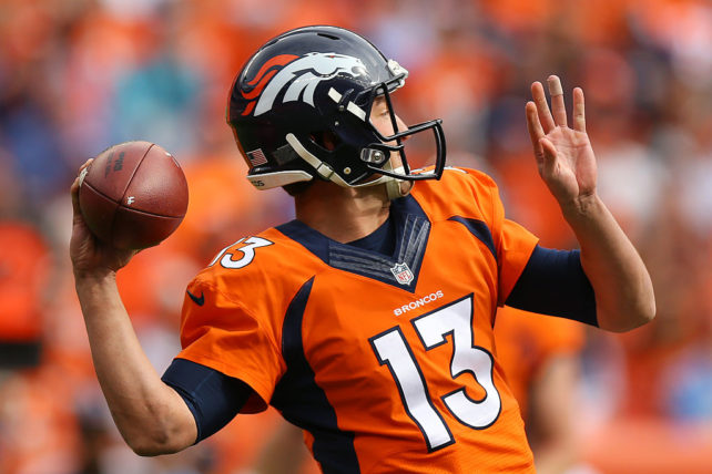 DENVER, CO - OCTOBER 30:  Quarterback Trevor Siemian #13 of the Denver Broncos throws in the first quarter of the game against the San Diego Chargers at Sports Authority Field at Mile High on October 30, 2016 in Denver, Colorado. (Photo by Justin Edmonds/Getty Images)