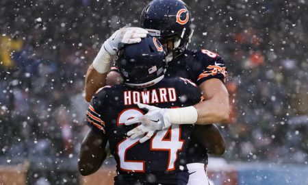 CHICAGO, IL - DECEMBER 04:  Daniel Brown #85 and  Jordan Howard #24 of the Chicago Bears celebrate after Howard scored in the third quarter against the San Francisco 49ers at Soldier Field on December 4, 2016 in Chicago, Illinois.  (Photo by Jonathan Daniel/Getty Images)